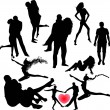 Set of black silhouettes of couples, girls and guys — Stock Vector