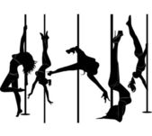 Set of black silhouettes of dancing girls striptease — Stock Vector