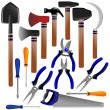 Construction tools, shovel, shears, pliers, hammer, scissors, screwdriver, ax, sickle — Stock Photo #21000759
