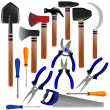 Construction tools, shovel, shears, pliers, hammer, scissors, screwdriver, ax, sickle — Stock Photo