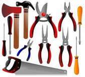 Construction tools, shovel, shears, pliers, hammer, scissors, screwdriver, ax, — Stock Photo