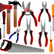 Construction tools, shovel, shears, pliers, hammer, scissors, screwdriver, ax, — Stock Vector