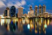 Reflection of lighting city scape at night, bangkok — Stock Photo