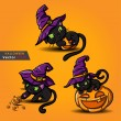 Stock Vector: Halloween black cat wearing witches hat and pumpkin