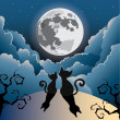 Silhouette of two cute kitty cat under the full moon — Stock Vector
