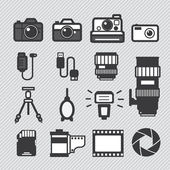 Photography camera lens and accessories — Stock Vector