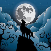 Silhouette Wolf howling at the moon — Stock Vector