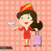 Beautiful stewardess with red uniform and little airplane — Vettoriale Stock