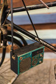 Antique radio on vintage — Stock Photo