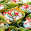 Hor mok, thai food, steamed fish curry custard in banana leaf — Foto de Stock