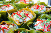 Hor mok, thai food, steamed fish curry custard in banana leaf — Stock Photo
