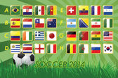 National Team Flags for soccer 2014 on grass background and soccer ball  32 nations  vector illustration — Stock Vector