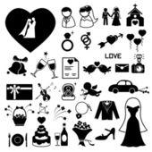 Los iconos de la boda situado ilustración eps10 — Vector de stock