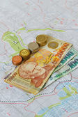 Armenian money,four notes with coins — Stock Photo