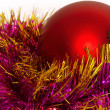 Big Christmas ball with tinsel — Stock Photo