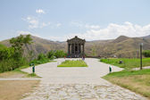 Garni Temple with a playground and benches, Armenia — Stock Photo