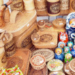Russian folk art: wooden and birch bark products — Stock Photo