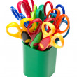 Scissors in pencil holder - Stock Photo