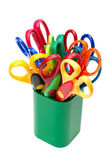 Scissors in pencil holder — Stock Photo