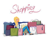 Woman with shopping bags — Stock Vector