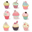 Illustration of isolated set of cupcake on white — Stock Vector