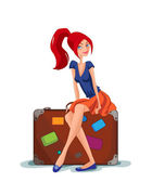 Traveler girl sitting on a suitcase — Stock vektor