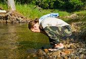 Washing young man 1 — Stock Photo
