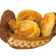 Buns in Basketry Breadbin — Stock Photo