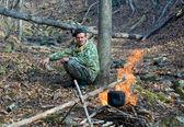 Man at Bonfire — Stock Photo