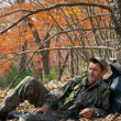Stock Photo: Ranger in autumn forest