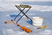 Balık tutma (ekipman buzdaki) — Stok fotoğraf