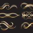 Stock Vector: Gold Decorative Labels and Swirls