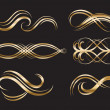 Gold Decorative Labels and Swirls - Stock Vector