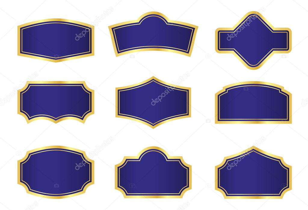 Dark blue vine labels with gold frames — Stock Photo #12596492