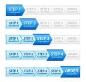 Barra de progresso azul para processo de ordem — Foto Stock
