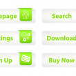 Web Buttons with Green Bookmarks and Six Icons — Stock Photo