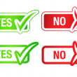 YES & NO Checkmarks Buttons — Stock Photo