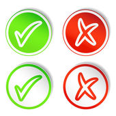 Round Stickers with YES & NO Checkmarks — Stock Photo