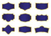 テクスチャとゴールデン フレームと暗い青色つるラベル — ストック写真