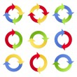Colorful Arrows in Circles — Stock Vector