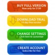 Colorful web buttons with icons — Stock Vector