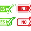 YES & NO Checmarks Buttons - Stockvectorbeeld