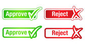 Approve & Reject Buttons with Checkmarks — Stock Vector