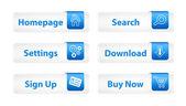 Pulsanti web con segnalibri blu e sei icone — Vettoriale Stock