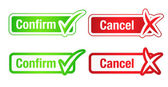 Confirm & Cancel Buttons with Checkmarks — Stock Vector