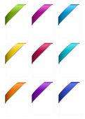 Set of Corner Ribbons in Metallic Colors — Stock Vector