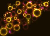 闪闪发亮的红色和黄色圆圈背景 — 图库矢量图片