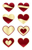 Set of Red Hearts with Gold Labels — Stock Vector
