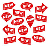 Set of Red Labels with Tag NEW — Stock Vector