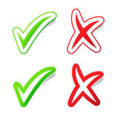 YES & NO Checmarks Stickers — Stock Vector